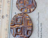 Handmade Pottery Beads or Ceramic Beads 2 piece set in Copper Brown