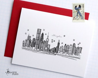 Shanghai, China - Asia/Pacific - City Skyline Series - Folded Cards (6)