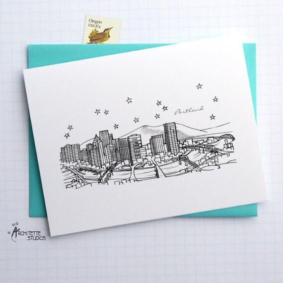 Portland, Oregon - United States - Skyline Series - Folded Cards (6)