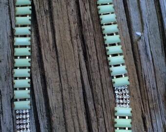 Plastic and rhinestone necklace