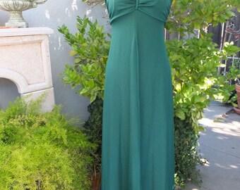 1970s BOHO Maxi Dress w/Matching Jacket, Boho Sundress, Hostess Dress, Knit Maxi Dress, Green, size 7