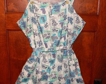 Vintage 50s aqua novelty print play swim suit XL plus size NOS
