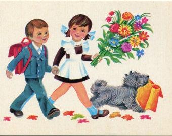 Vintage Russian postcard  Children bringing flowers, dog bring gifts  USSR