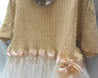 50% OFF - TUNIC SWEATER Altered Clothing Boho Holiday Gold Sparkle - Sweater - Gold, Ivory and Taupe