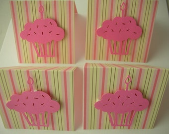 Cupcake Mini Cards, Set of 4, Gift Tags, Gift Enclosures, Birthday Cards, 3X3 Cards, Stationery, Paper, Party Goods, Lunchbox Notes, Tags
