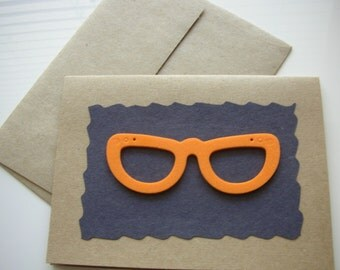 Eye Glasses Card, Blank Card, Notecard, Greeting Card, Orange Glasses, Kraft Card, Paper Goods, Kraft Envelope, Paper Supplies, Fun Cards