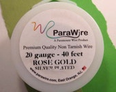 Silver Plated Rose Gold - 20 Gauge Wire from ParaWire - 40 foot Spool