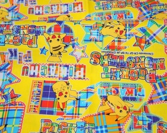 pokemon license  fabric pikachu 19.6 inch by 42  inch or 50 cm by 106 cm Half meter LAST PIECE Printed in Japan ©nintendo ©pokemon