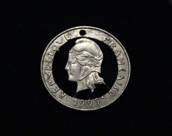 FRANCE - Cut Coin Pendant - Woman and Torch - 1995