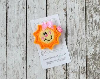 You are My Sunshine Felt Hair Clip - A cute yellow felt sunshine clippie - felt hair bows - yellow and orange felt hair clips