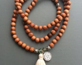 Wood 108 bead mala necklace stretch wrap bracelet with SPRING/SUMMER customizable tassel and charm