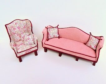 Dollhouse Miniature Upholstered Micro Suede Couch, Floral Arm Chair and pillows in 1:12 Scale Handmade