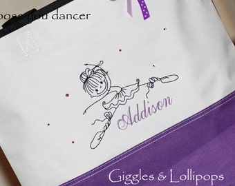 Girls personalized dance ballet jazz class tote bag purple
