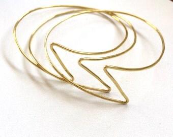 Set of 3 Brass Lightning Bolt Bangle Bracelets Handformed Hammered Thin Lightweight