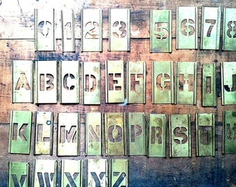 Vintage Brass Stencil, One of Your Choice, 1 Inch Letter or Number, Sign Making