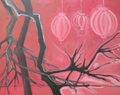 Among the Cherry Blossoms, oil painting, original artwork, cherry trees, home decor, paper lanterns