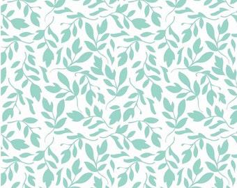Primrose Leaf in Aqua by Carina Gardner for Riley Blxake in Cotton - 1 Yard