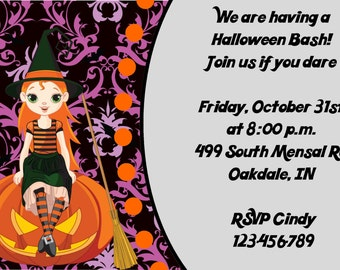 Halloween Witch Pumpkin Party Invitation DIY Digital Print Your Choice