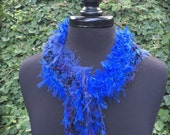 Vibrant blue knitted collar with infinity twist and fringe (sku#08-T)