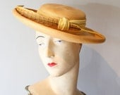 Vintage 1960s Straw Hat With Feather ~ Vintage 60s Big Brim Portrait Hat with Yellow Trim