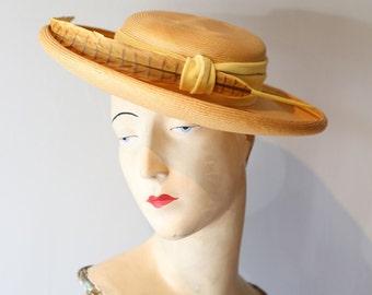 Vintage 1960s Straw Hat With Feather ~ Vintage 60s Big Brim Portrait Hat with Yellow Trim