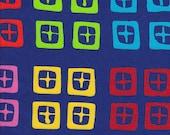 Clothworks Urban Landscapes Cross Squares on Turquoise - Half Yard