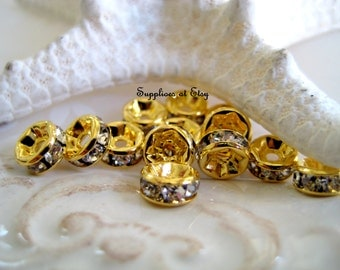 Special SALE Grade Gold Rhinestone Spacer Rondells Crystal  Beads 6MM-jewelry findings-Flat round Crystal rhinestone jewelry findings