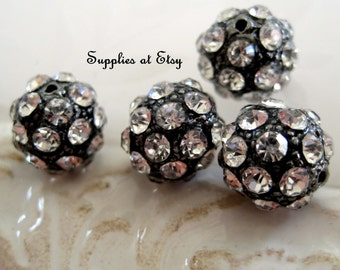 Special SALE Gun Metal Black Rhinestone Pave Crystal 10mm Round Pave Bead Grade A-round antique silver rhinestone jewelry findings,Spacer
