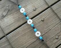 shell & blue glass body chain // nickel free jewelry // body chain jewelry // beaded body chain // HEY156