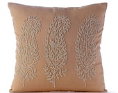 "Designer Beige Cushion Covers, 16""x16"" Cotton Linen Pillow Covers, Square  Beaded Indian Paisley Throw Pillows Cover - Linen & Paisleys"
