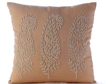 Decorative Throw Pillow Covers Accent Couch Bed Sofa Pillows 16x16 Beige Linen Pillow Case Jute Cord And Bead Embroidered Linen & Paisleys