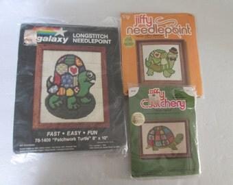Turtle Needlework  Kits Lot of Three Plastic Canavas Needlepoint