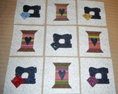"Set of 9 Applique 6"" x 6"" Quilt Blocks...Vintage Style Sewing Machines and Thread Spools w/Hearts"