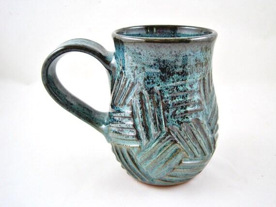 Handmade pottery mug, Ceramic mug, large coffee cup 20 oz. - In stock - CUBE1