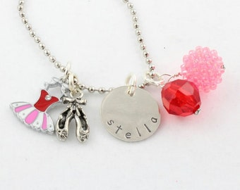 Ballet Personalized Charm Necklace for Children - Hand Stamped Custom Necklace for Girls - Nutcracker Gift - Christmas