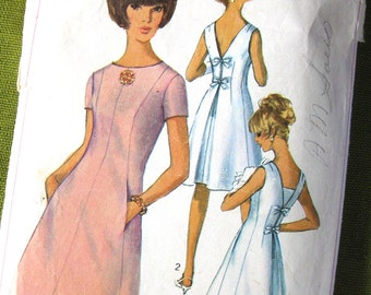 1960s Vintage Sewng Pattern - Mod Dress with Side Pockets and Detachable Vestee - Simplicity 6434 / Size 12