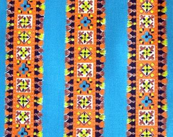 1950s Vintage Cotton Fabric Orange and Turquoise Ethnic Stripe Mexican Braid Tassel Motif