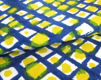 Vintage Upholstery Fabric MOD Abstract Blue Yellow and Lime Green Screen Print