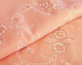 Vintage Pink Floral Fabric with Silver Glitter Flowers - Screen Print Fabric In White and Metallic Silver