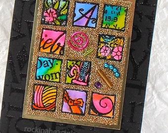 original art card collage ACEO, Krazy Quilt