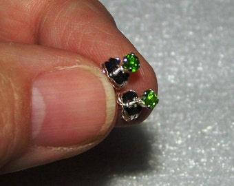 Chrome Diopside Tiny Stud Post Earrings in Sterling Silver