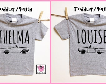 Thelma and Louise CAR image. Heather Gray Toddler or Youth t shirt. Childrens clothing. Besties. Best friend kid shirts
