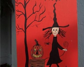 Primitive Folk Art Witch with Pumpkin Cart Halloween Wood Sign