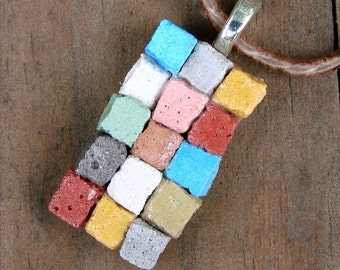 The Miniature Patchwork Quilt Mosaic Necklace - Dirt Road South Exclusive Art Jewelry