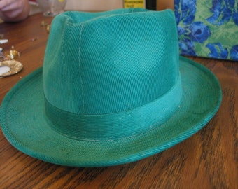 Vintage Bright Kelley Green Corduroy Fedora Hat