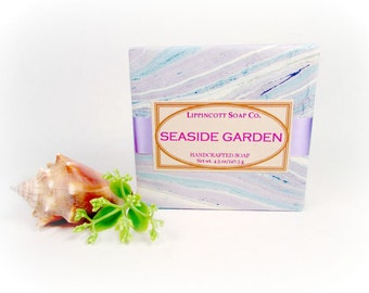 Seaside Garden Soap, Cold Process Soap, Handmade Soap, Bar Soap, Phthalate Free, Lotus, Sea Air, Aquatic Florals, Beachy Musk, Gift for Her