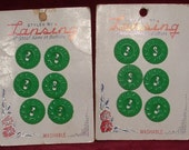 VINTAGE 1950s NEW Set of 12 GREEN Buttons On Card 2 Hole
