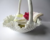 Large Vintage Fenton Milk Glass Hobnail Basket