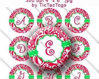 Christmas Swirl Red Green White Scallop Alpha Bottle Cap Digital Images Set 1 Inch Circle Alphabet A-Z 4X6 - Instant Download - BC530