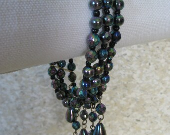 Purple Green Blue Aurora Bracelet Bead Vintage Dangle Iridescent Three Strand